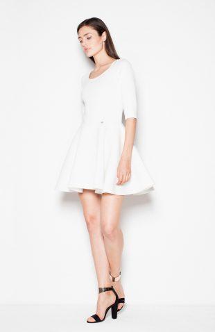 Sukienka rozkloszowana mini ecru