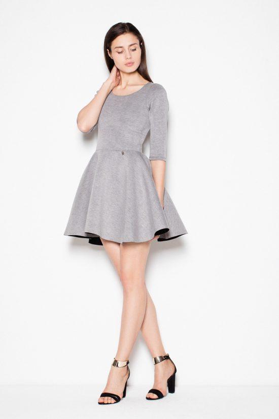 Sukienka rozkloszowana mini szara