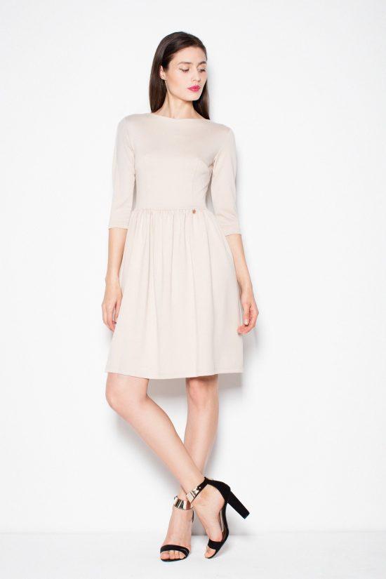 Sukienka klasyczna beżowa