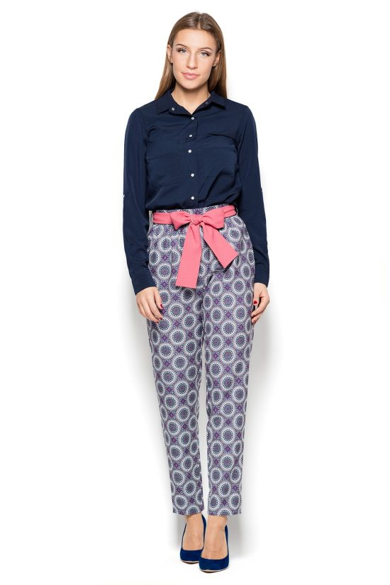 Spodnie z marszczoną talią we wzorki