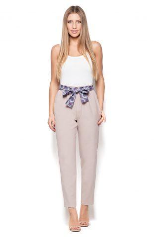 Spodnie z marszczoną talią beż