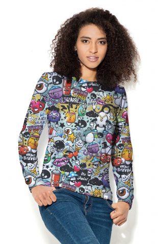 Bluza damska z kolorowym nadrukiem kreskówki