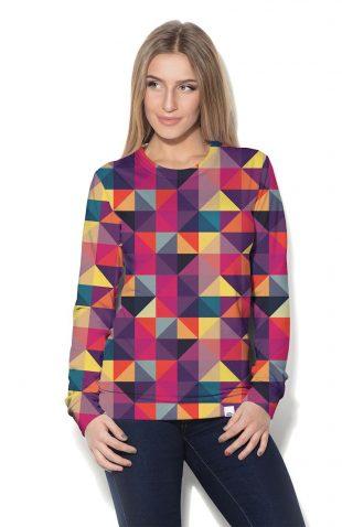 Termoaktywna bluza damska z nadrukiem w geometryczny wzór