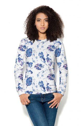 Bluza damska z nadrukiem w błękitne liście