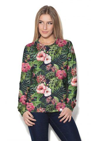 Bluza damska z dzianiny w kwiaty