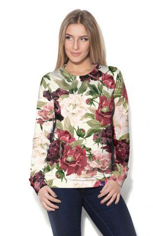 Damska bluza z dzianiny z nadrukiem w kwiaty