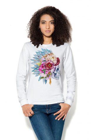 Damska bluza z nadrukiem, czaszka z pióropuszem