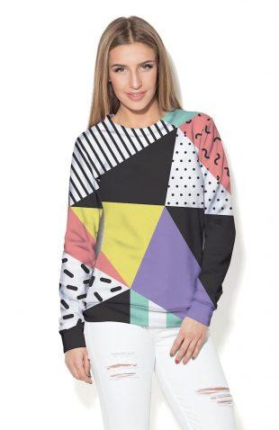Damska bluza w kolorowe trójkąty