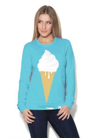Damska bluza z nadrukowanym lodem w wafelku
