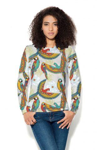 Damska bluza z nadrukowanymi papugami