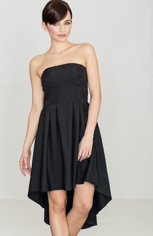 Sukienka bez ramiączek z przedłużanym tyłem czarna