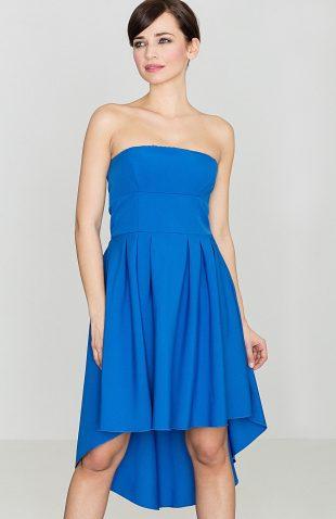 Sukienka bez ramiączek z przedłużanym tyłem niebieska