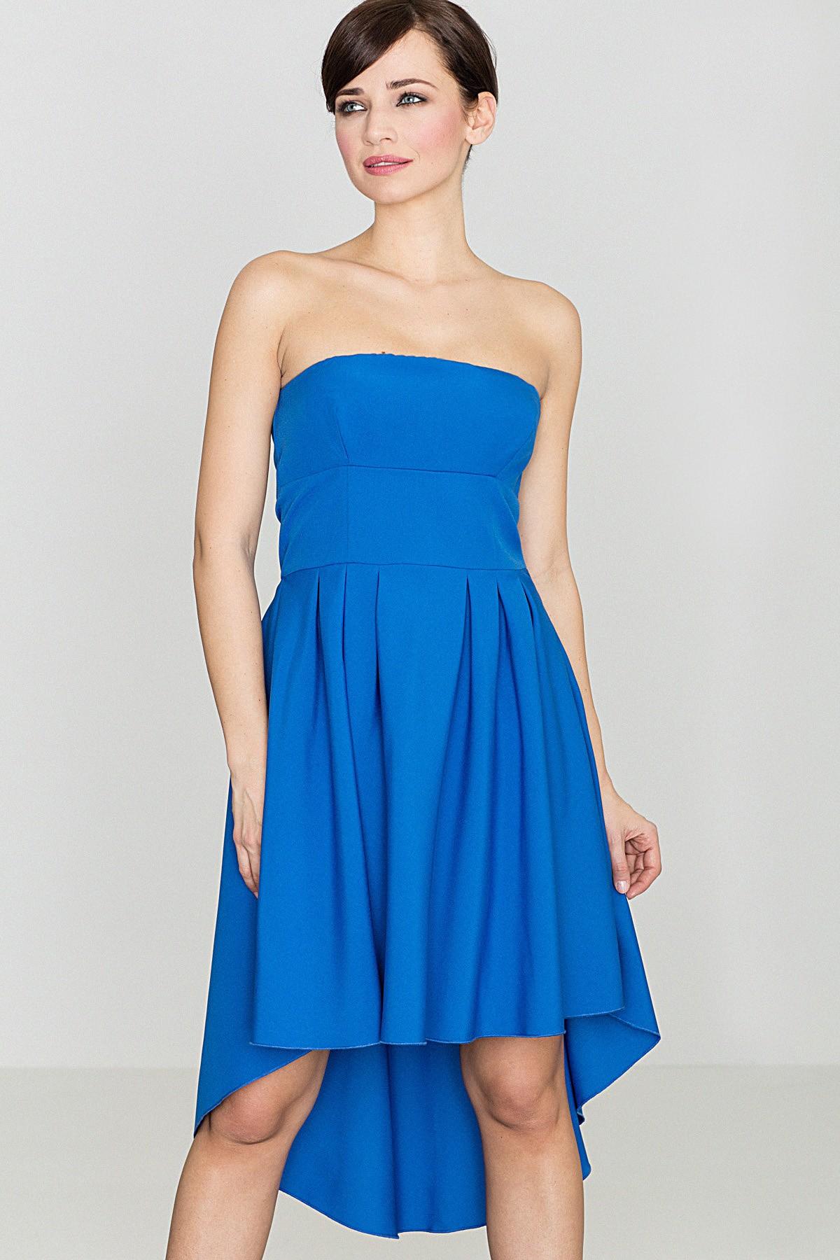 Sukienka bez ramiączek z przedłużanym tyłem niebieska E