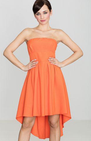 Sukienka bez ramiączek z przedłużanym tyłem pomarańczowa