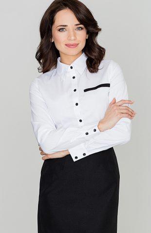 Klasyczna koszula damska z kołnierzykiem biała