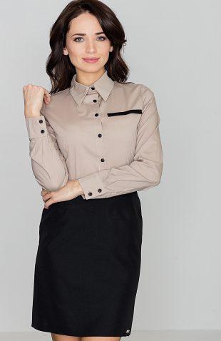 Klasyczna koszula damska z kołnierzykiem beżowa