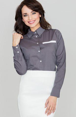 Klasyczna koszula damska z kołnierzykiem szara