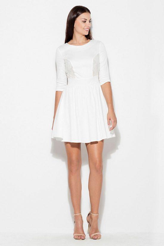Sukienka z koronkową wstawką ecru