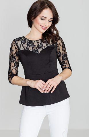 Bluzka koronkowa z baskinką czarna