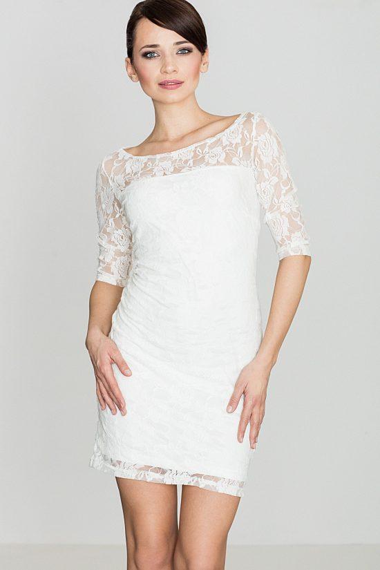 Sukienka z koronki ecru