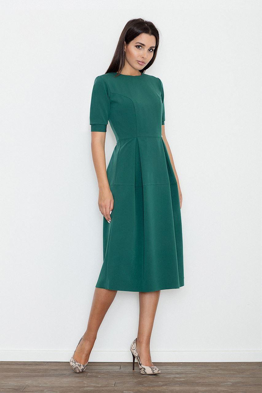Sukienka rozkloszowana midi zielona