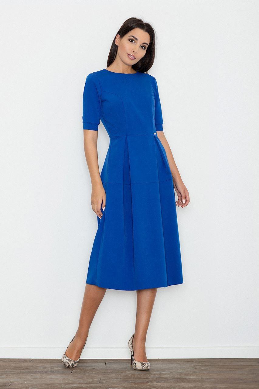 e8f1b157a6 Sukienka rozkloszowana midi niebieska - e-margeritka.pl