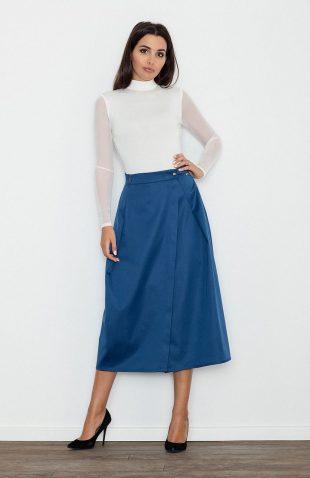Rozkloszowana spódnica za kolano niebieska do pracy