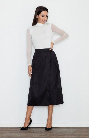 Rozkloszowana spódnica za kolano czarna do pracy