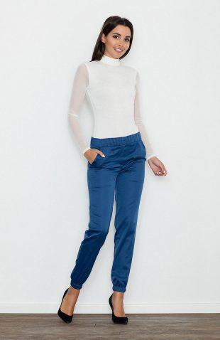 Eleganckie kobiece spodnie wizytowe niebieskie