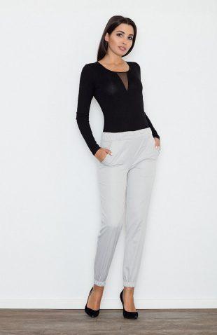Eleganckie kobiece spodnie wizytowe szare