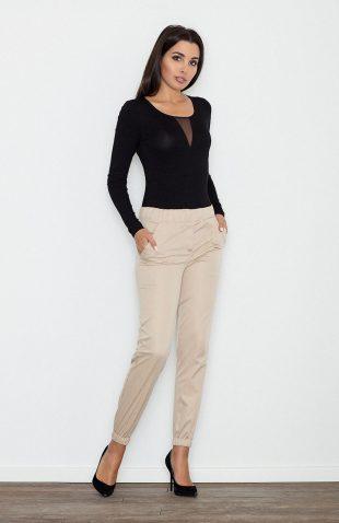 Eleganckie kobiece spodnie wizytowe beż