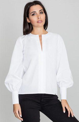 Koszula z bufkami przy rękawach biała