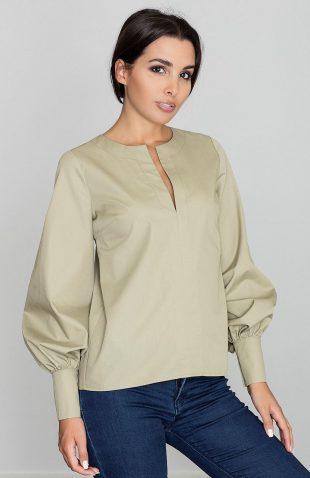 Koszula z bufkami przy rękawach oliwka