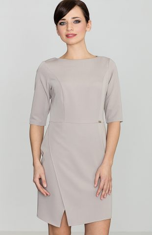 Elegancka sukienka do biura beżowa