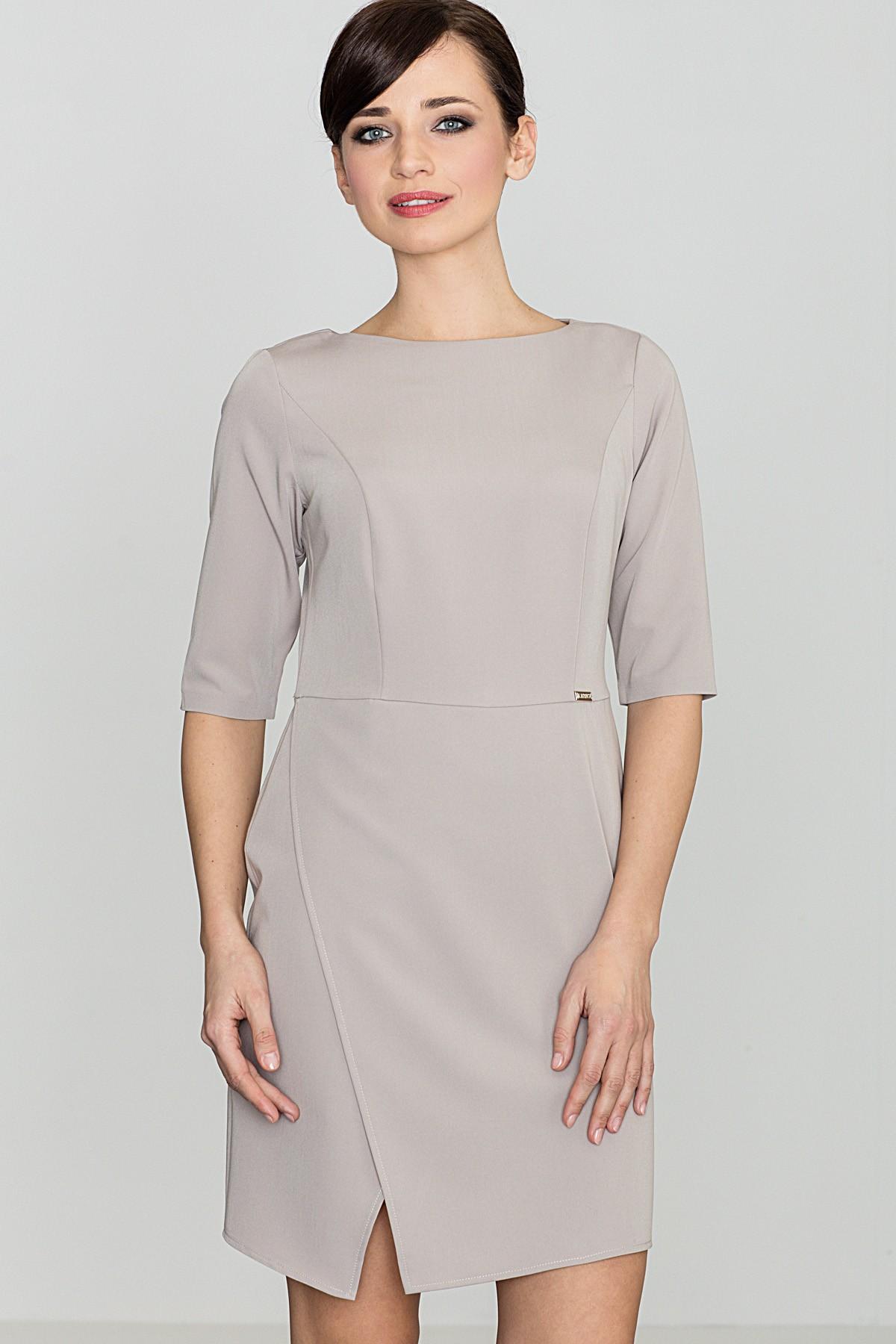 d6229b1a Elegancka sukienka do biura beżowa