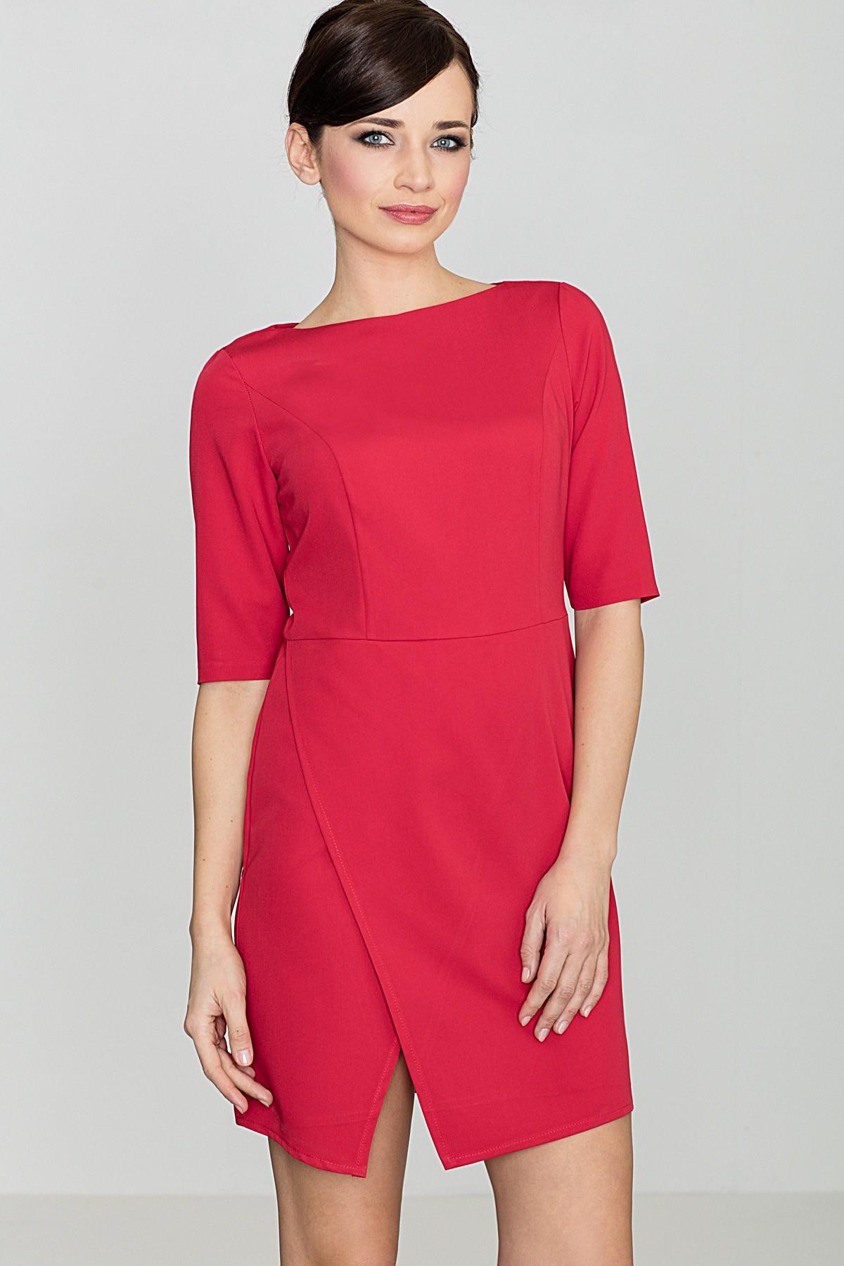 866a5ed6 Elegancka sukienka do biura czerwona