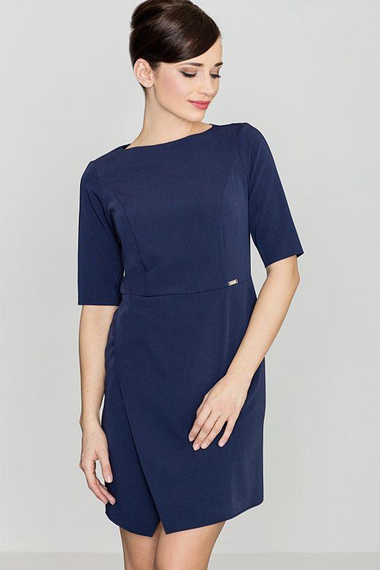Elegancka sukienka do biura granatowa