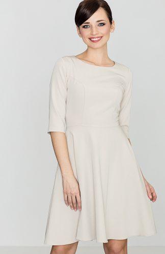 Klasyczna sukienka przed kolano beżowa