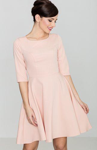 Klasyczna sukienka przed kolano różowa