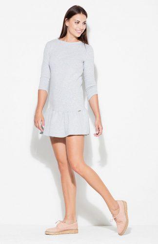 Sukienka bawełniana mini z falbaną szara