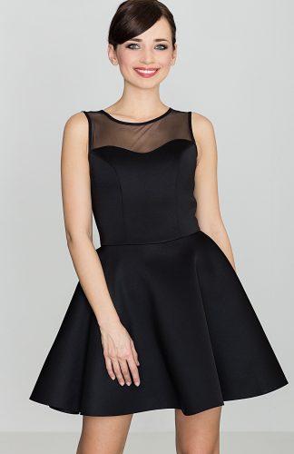 Sukienka mini z półprzezroczystym topem czarna