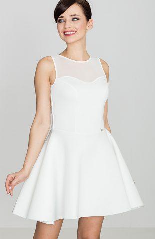 Rozkloszowana sukienka z półprzezroczystym topem ecru