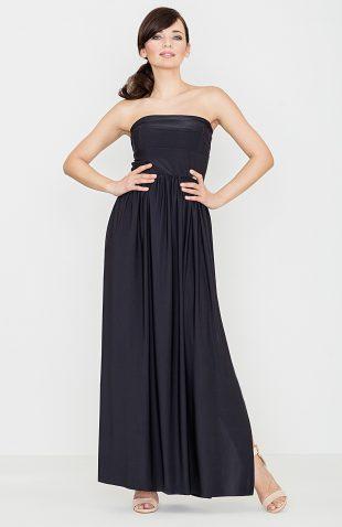 Sukienka wieczorowa z odkrytymi ramionami czarna
