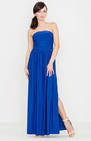 Sukienka maxi z odkrytymi ramionami niebieska