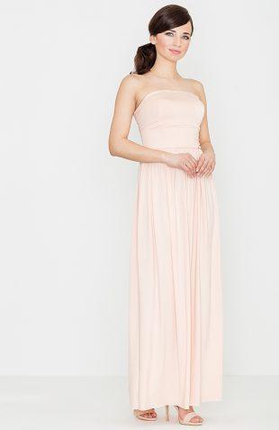 Sukienka maxi z odkrytymi ramionami różowa