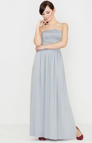 Sukienka maxi z odkrytymi ramionami szara
