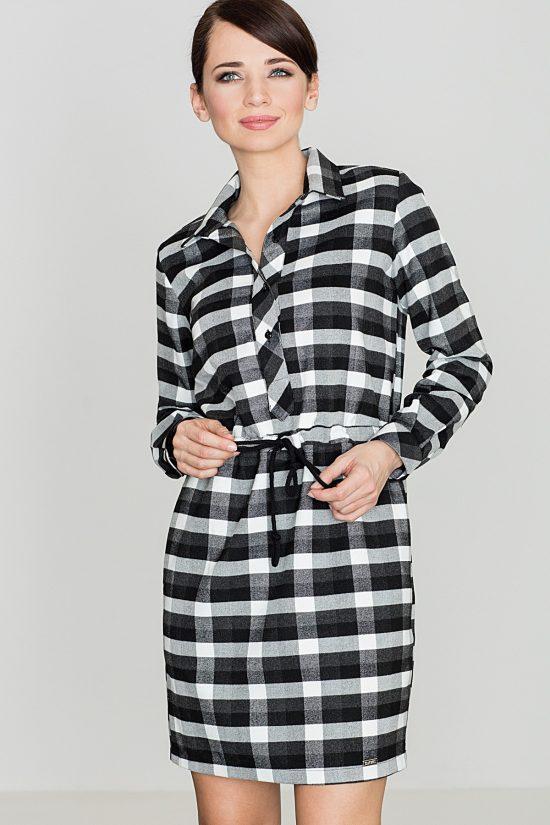 Sukienka szmizjerka w kratę czarno-biała