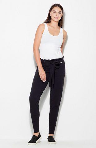 Spodnie bawełniane marszczone w pasie czarne
