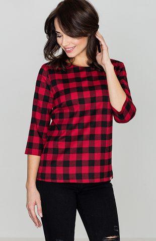 Bluzka w kratę czarno-czerwona