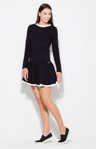 Sukienka bawełniana z falbaną czarna